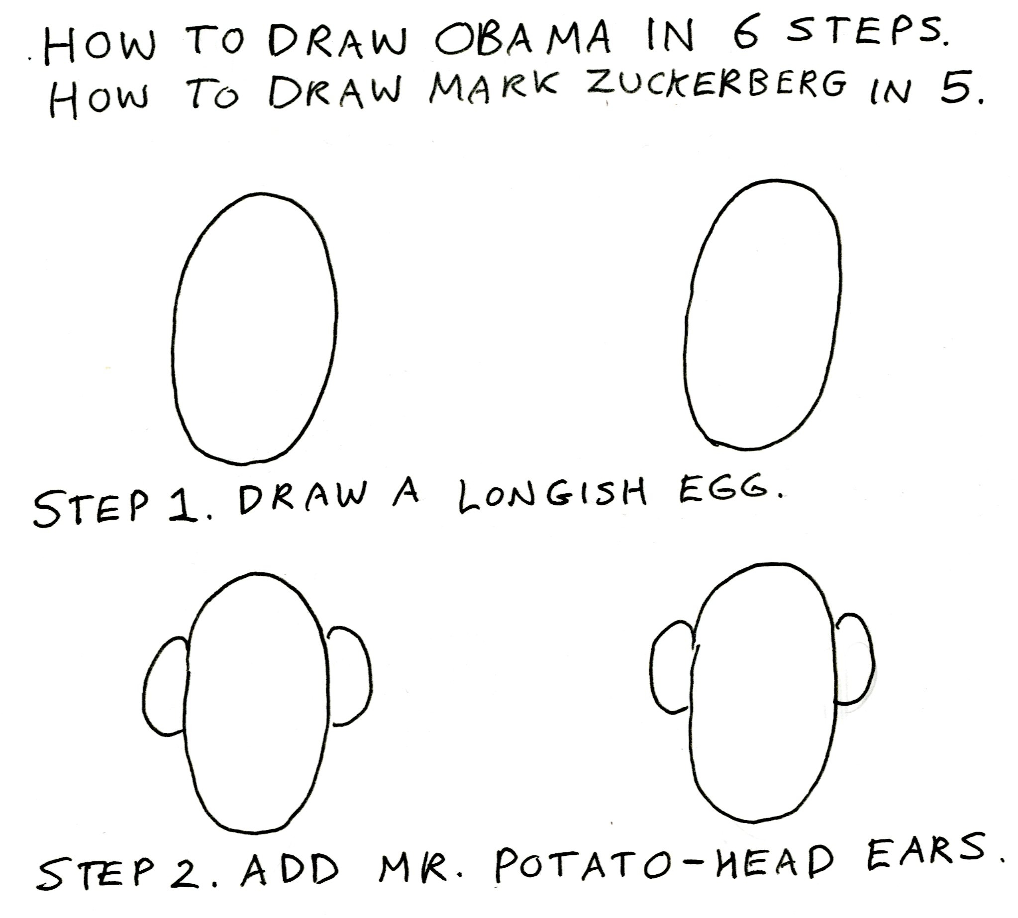 Draw Obama in 6 Easy Steps, Draw Zuckerberg in 5 « Bill ...