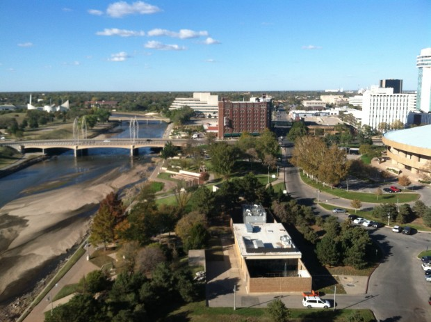 Arkansas River braiding through Wichita