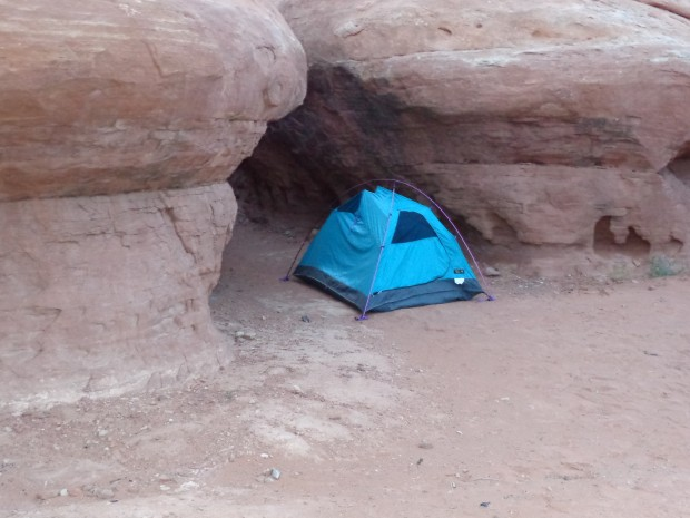 My protected campsite at Hamburger Rock (didn't descend to usual spot by Indian Creek due to lightning, and flooding.)
