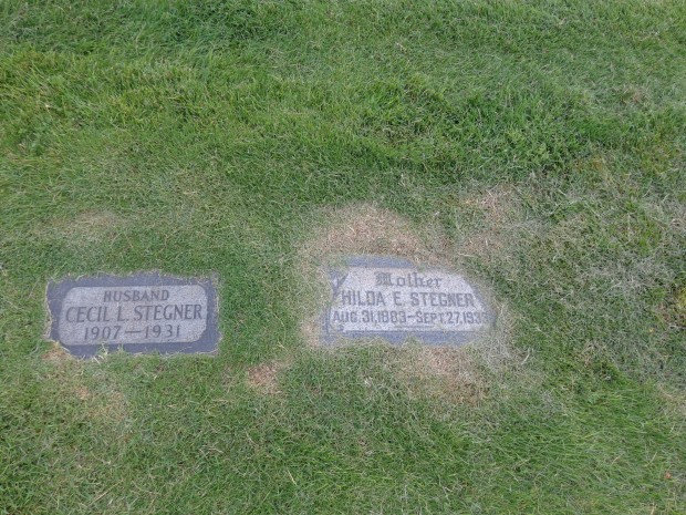 At the Stegner graves in Salt Lake (courtesy of Stepehn Trimble.) Unlike in WS's fiction, here there is no redemptive headstone for his father.
